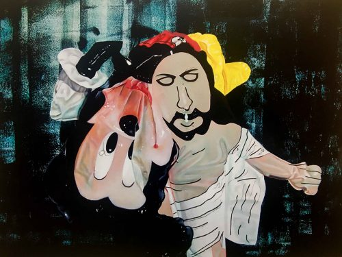 Jesus saving deflated Mickey
